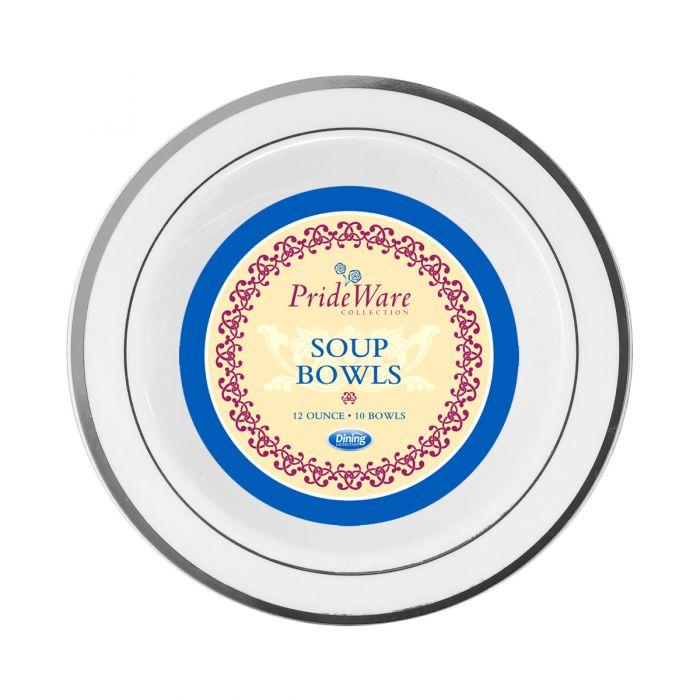 PrideWare 12 oz. Soup Bowls - White/Silver Plastic - 10 Count