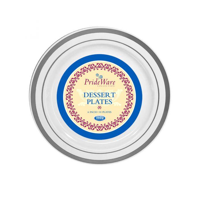 """PrideWare 6"""" Dessert Plates - White/Silver Plastic - 10 Count"""