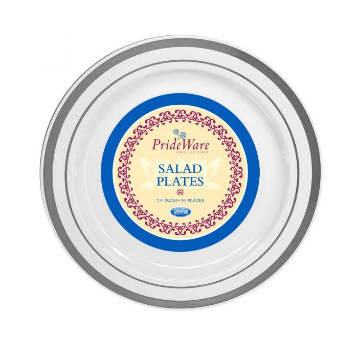"""PrideWare 7.5"""" Salad Plates - White/Silver Plastic - 10 Count"""