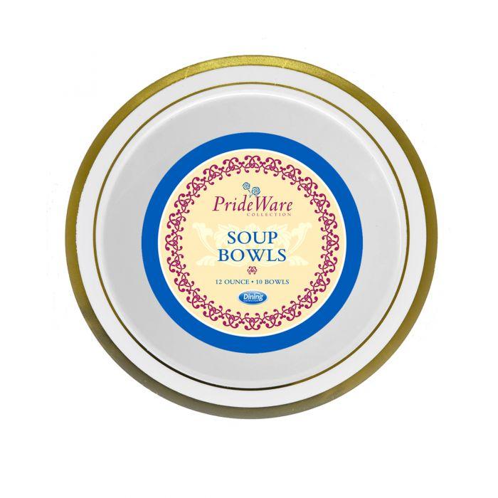 PrideWare 12 oz. Soup Bowls - Ivory/Gold Plastic - 10 Count