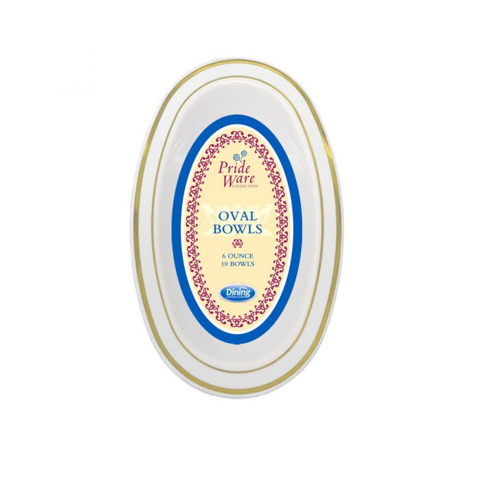 PrideWare 6 oz. Oval Bowls - Ivory/Gold Plastic - 10 Count