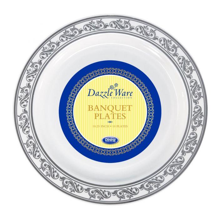 """DazzleWare 10.25"""" Banquet Plates - White/Silver Plastic - 10 Count"""