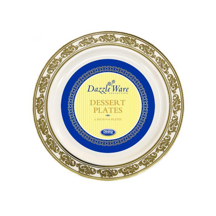 "DazzleWare 6"" Dessert Plates - Ivory/Gold Plastic - 10 Count"