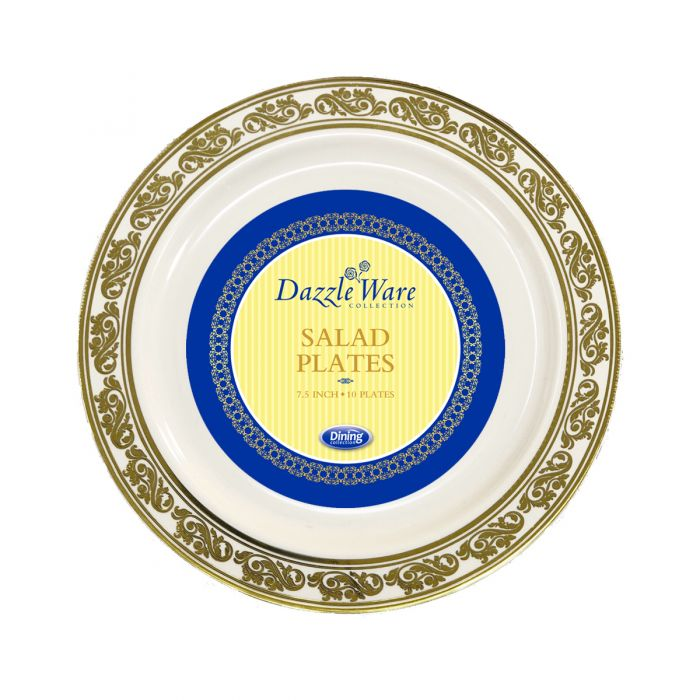 "DazzleWare 7.5"" Salad Plates - Ivory/Gold Plastic - 10 Count"