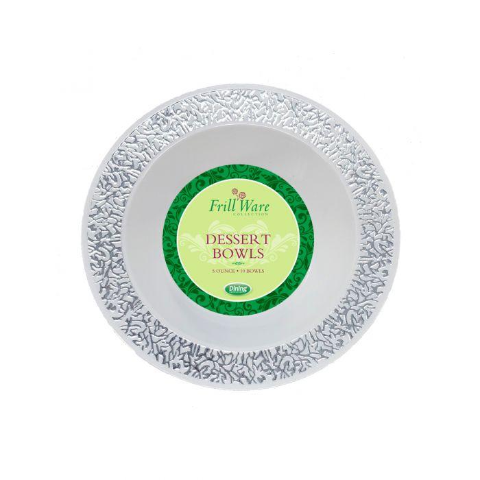 FrillWare 5 oz. Dessert Bowls - White/Silver Plastic - 10 Count