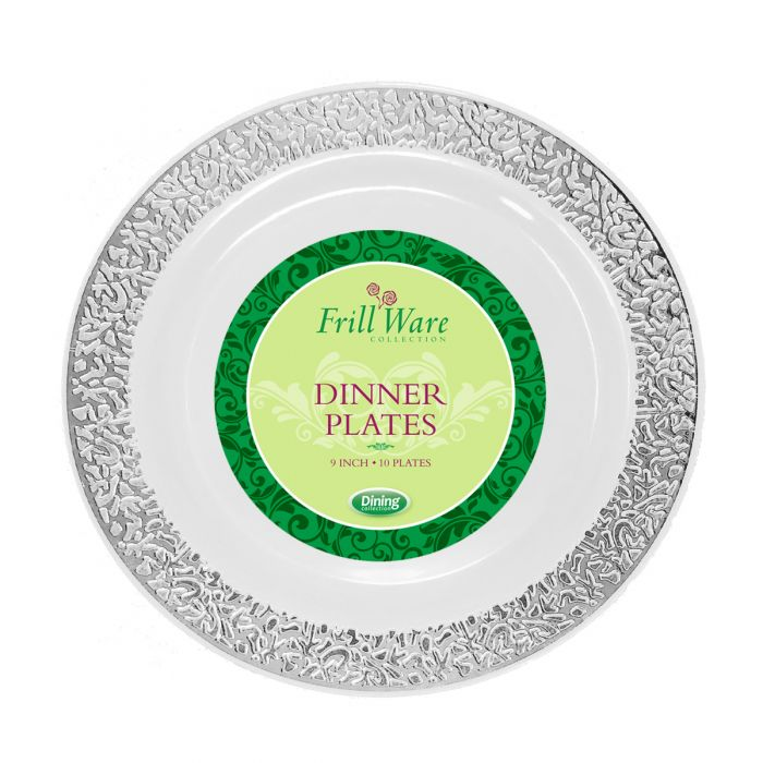 "FrillWare 9"" Dinner Plates - White/Silver Plastic - 10 Count"
