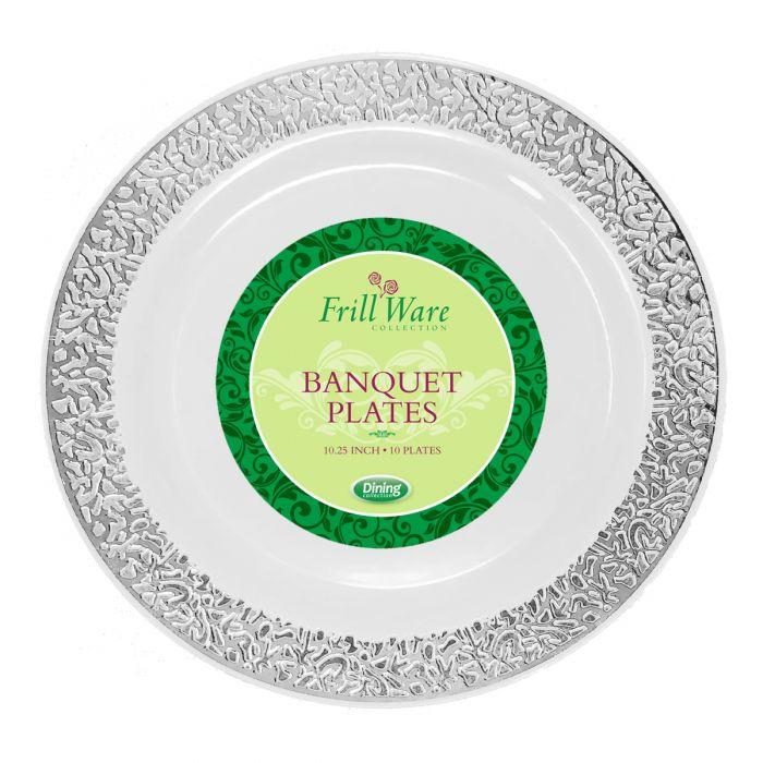 "FrillWare 10.25"" Banquet Plates - White/Silver Plastic - 10 Count"