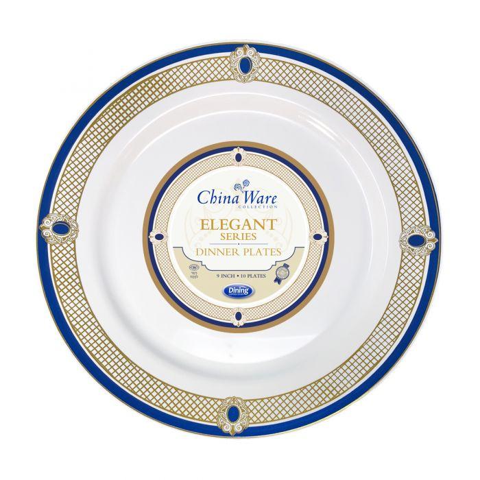 """ChinaWare Elegant 9"""" Dinner Plates - White/Cobalt/Gold - 10 Count"""
