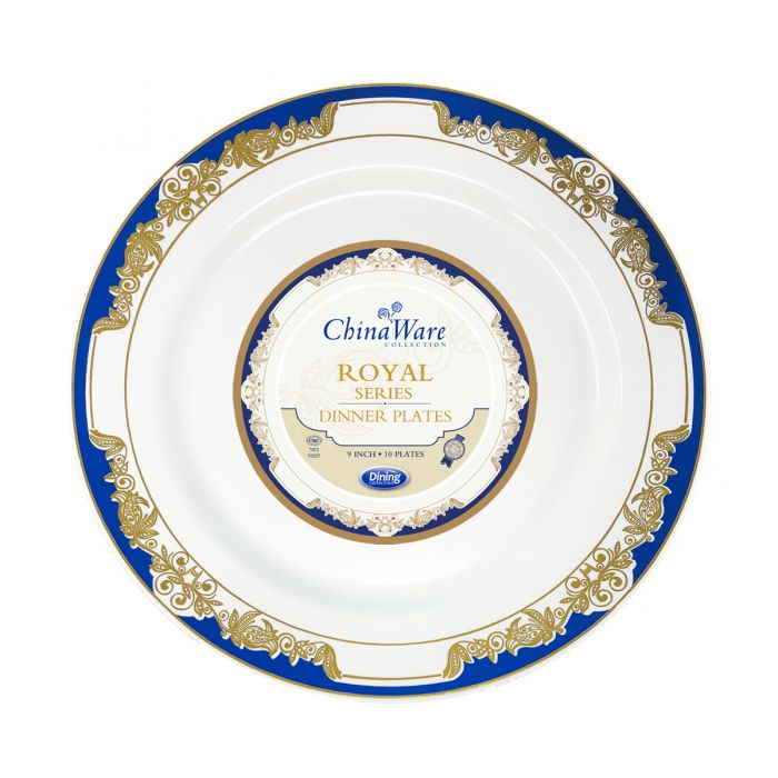 "ChinaWare Royal 9"" Dinner Plates - White/Cobalt/Gold - 10 Count"