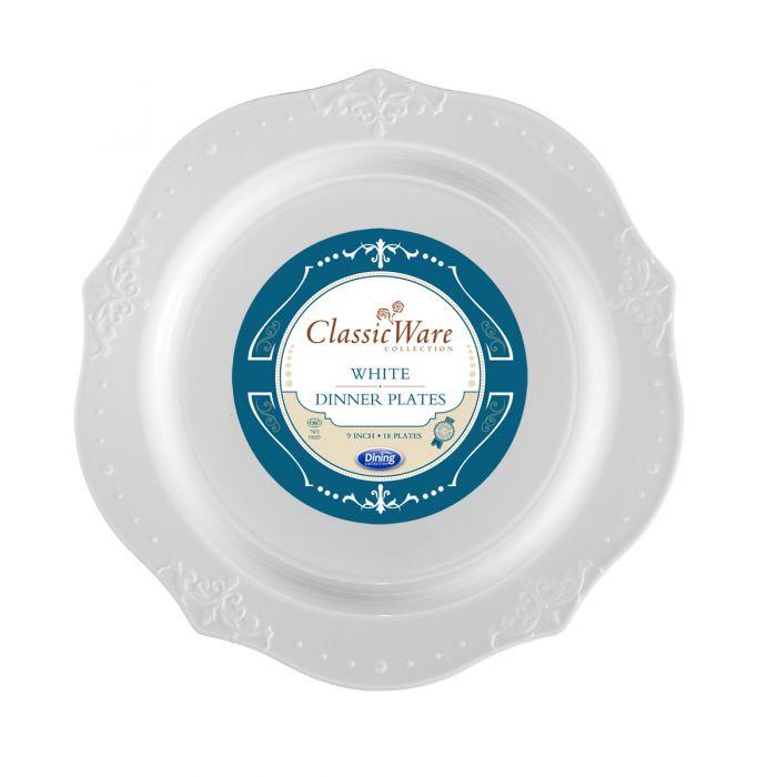 """ClassicWare 9"""" Dinner Plates - White Plastic - 18 Count"""