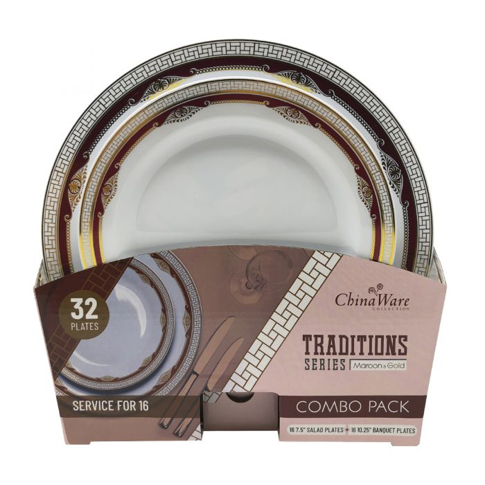 ChinaWare Traditions (Salad & Banquet Plate) Combo Pack – Maroon/Gold