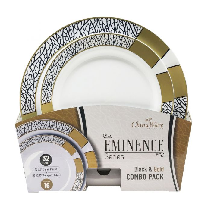 ChinaWare Eminence (Salad & Banquet Plate) Combo Pack – Black/Gold