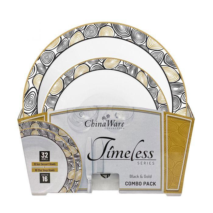 ChinaWare Timeless (Dessert & Soup Bowl) Combo Pack – Black/Gold