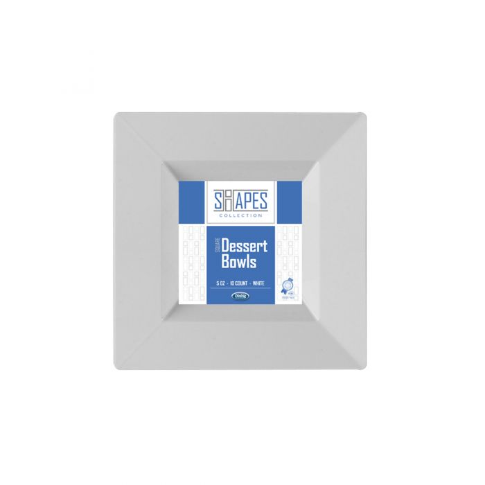 Shapes Collection - Square 5 oz. Dessert Bowl (White) - 10 Count