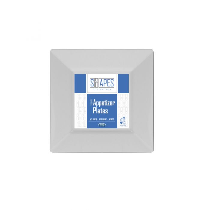 "Shapes Collection - Square 4.5"" Appetizer Plate (White) - 10 Count"