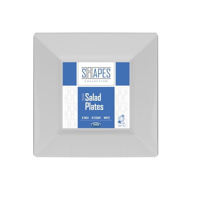 """Shapes Collection - Square 8"""" Salad Plate (White) - 10 Count"""