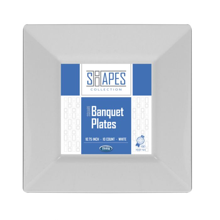 """Shapes Collection - Square 10.75"""" Banquet Plate (White) - 10 Count"""