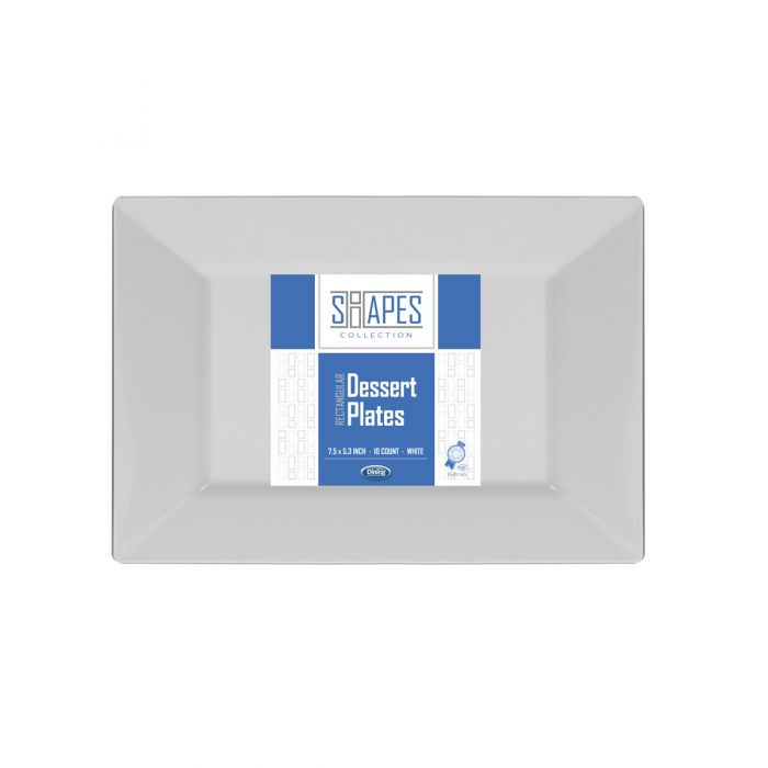 """Shapes Collection - Rectangular 7.5"""" Dessert Plate (White) - 10 Count"""