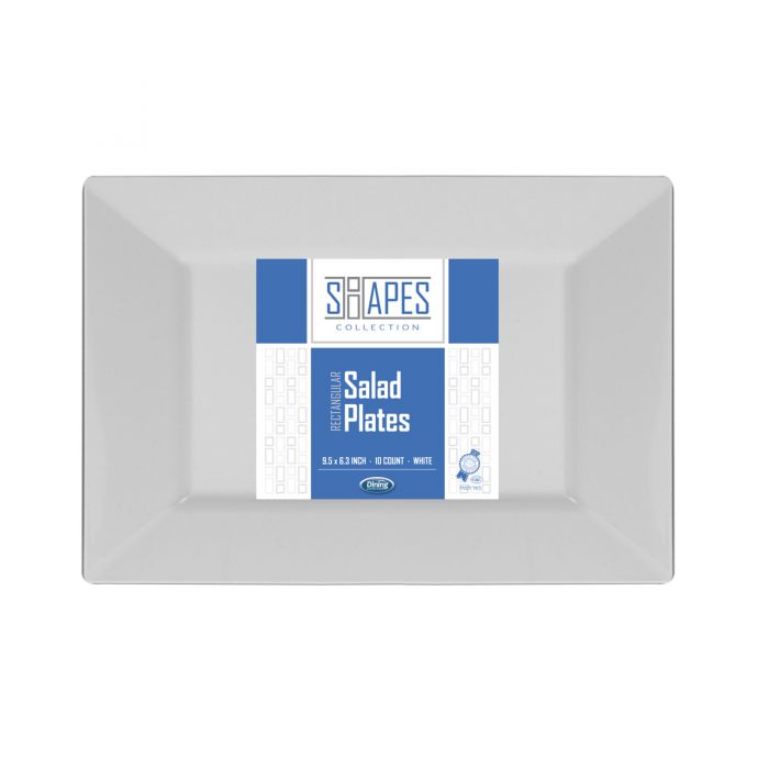 """Shapes Collection - Rectangular 9.5"""" Salad Plate (White) - 10 Count"""