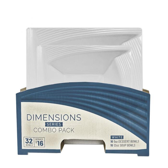 Dimensions Square White Bowls Combo Pack - 32 Count