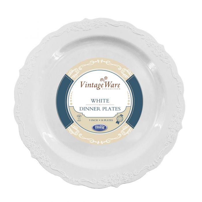 """VintageWare 9"""" Dinner Plates - White Plastic - 18 Count"""