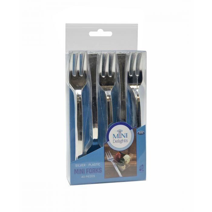 Mini Delights - Silver Plastic Mini Forks - 40 Count