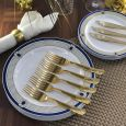 ChinaWare Elegant (Salad & Banquet Plate) Combo Pack – White/Cobalt/Gold
