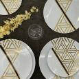 """CoupeWare Triangle Deco  (White/Gold)  7.5"""" Plates - 10 ct."""