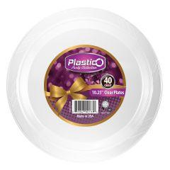 "Plastico 10.25"" Plates - Clear Plastic - 40 Count"