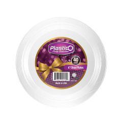 "Plastico 6"" Plates - Clear Plastic - 40 Count"