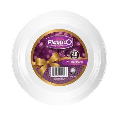 "Plastico 7"" Plates - Clear Plastic - 40 Count"