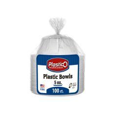 Plastico 5 oz. Bowls - White Plastic - 100 Count