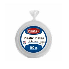 "Plastico 6"" Plates - White Plastic - 100 Count"