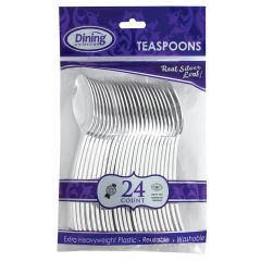Dining Collection Silver Teaspoons - Extra Heavyweight Plastic - 24 ct.