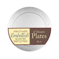 "Embellish 6"" Dessert Plates - Clear Plastic - 20 Count"