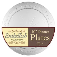 "Embellish 10"" Dinner Plates - Clear Plastic - 20 Count"