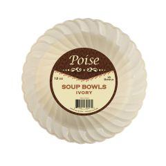 Poise 12 oz. Soup Bowls - Ivory Plastic - 18 Count