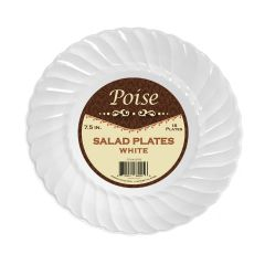 "Poise 7.5"" Salad Plates - White Plastic - 18 Count"