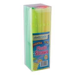 Plastimade Neon Color Flex Straws (ST2575) - 175 Count