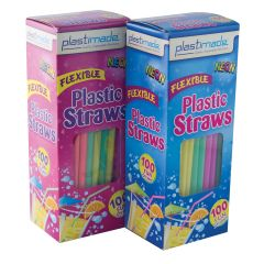Plastimade Neon Color Flex Straws (ST2500) - 100 Count