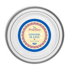 """PrideWare 9"""" Dinner Plates - White/Silver Plastic - 10 Count"""