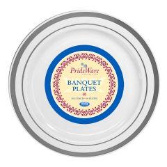 """PrideWare 10.25"""" Banquet Plates - White/Silver Plastic - 10 Count"""