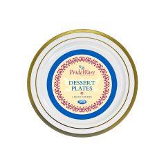"PrideWare 6"" Dessert Plates - Ivory/Gold Plastic - 10 Count"