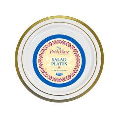 "PrideWare 7.5"" Salad Plates - Ivory/Gold Plastic - 10 Count"