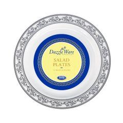 """DazzleWare 7.5"""" Salad Plates - White/Silver Plastic - 10 Count"""