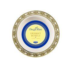 DazzleWare 5 oz. Dessert Bowls - Ivory/Gold Plastic - 10 Count