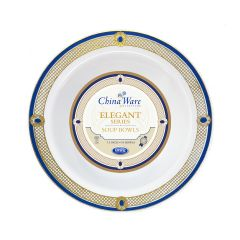 ChinaWare Elegant 12 oz. Salad Bowls - White/Cobalt/Gold - 10 Count