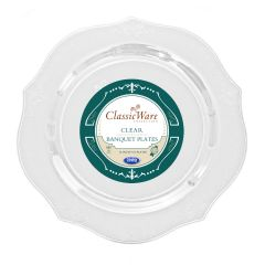 "ClassicWare 10"" Banquet Plates - Clear Plastic - 18 Count"
