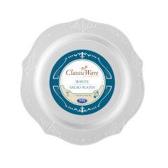 """ClassicWare 7"""" Salad Plates - White Plastic - 18 Count"""