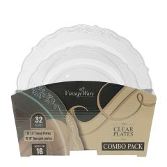 VintageWare Clear (Salad & Banquet Plate) Combo Pack – 32 Count